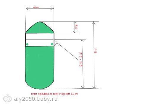 выкройка конверт для новорожденного