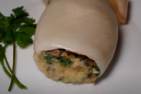 рецепт кальмар фаршированных грибами