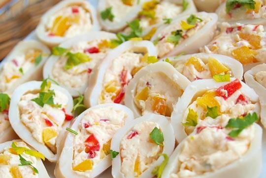кальмары фаршированные сыром и перцем