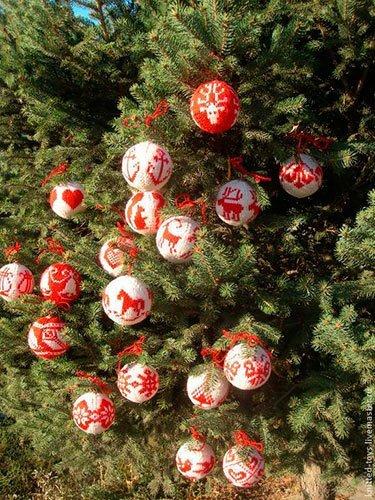 вязаные шары на елку