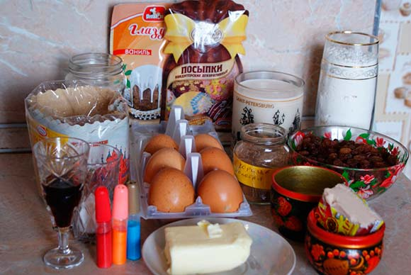 ингредиенты для кулича