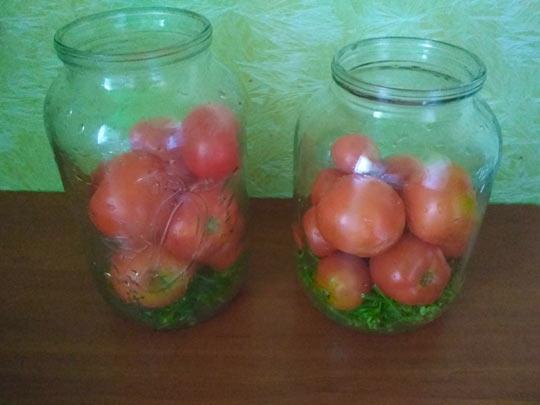 наполнить помидорами наполовину банки