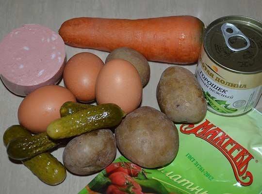 ингредиенты на Оливье