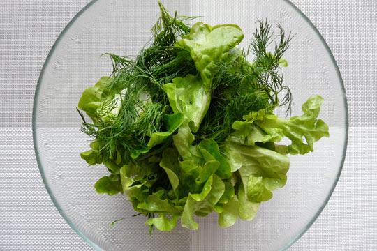 порвать листья салат и укроп