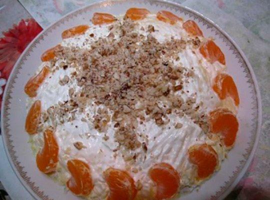Салат с мандаринами на Новый год