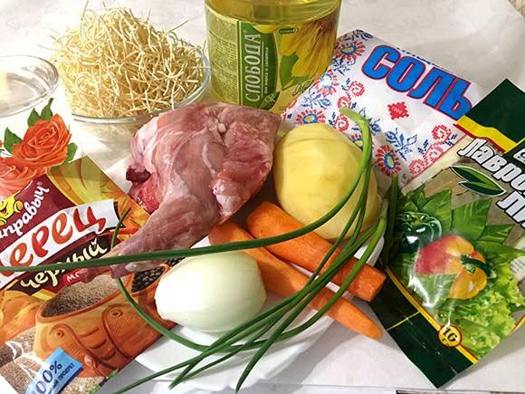 ингредиенты для супа из кролика