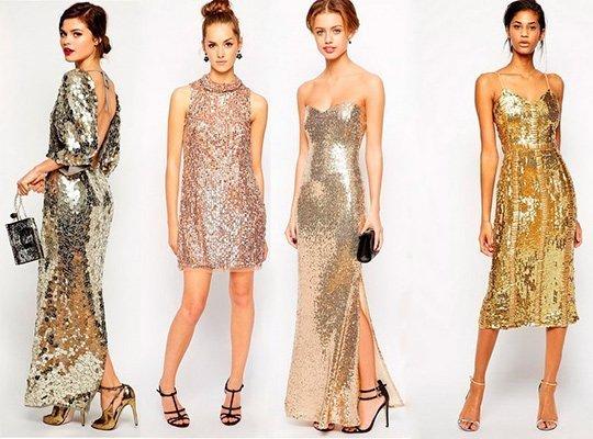 Золотистые платья на Новый год