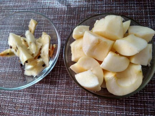 очистить яблоки от сердцевины